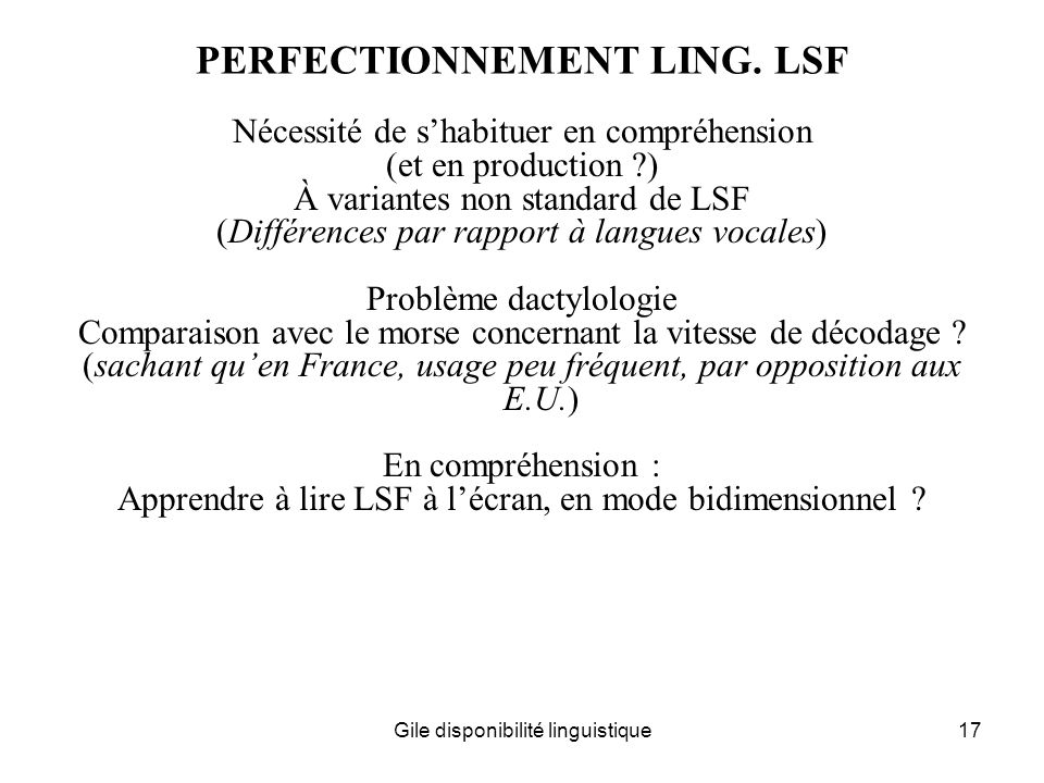 PERFECTIONNEMENT LING. LSF