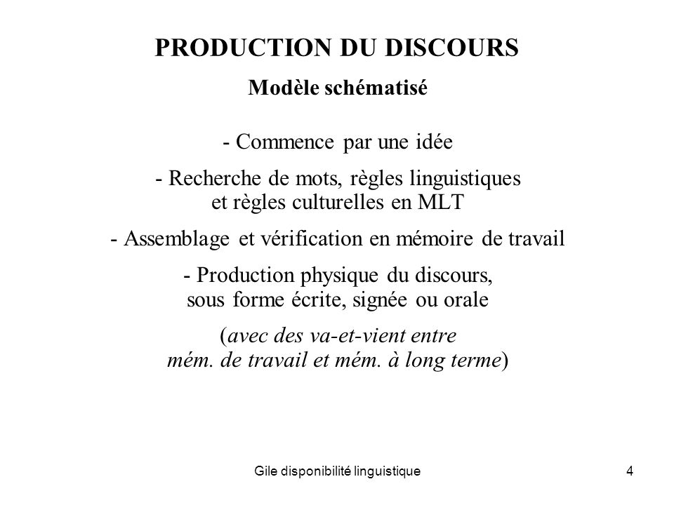 PRODUCTION DU DISCOURS