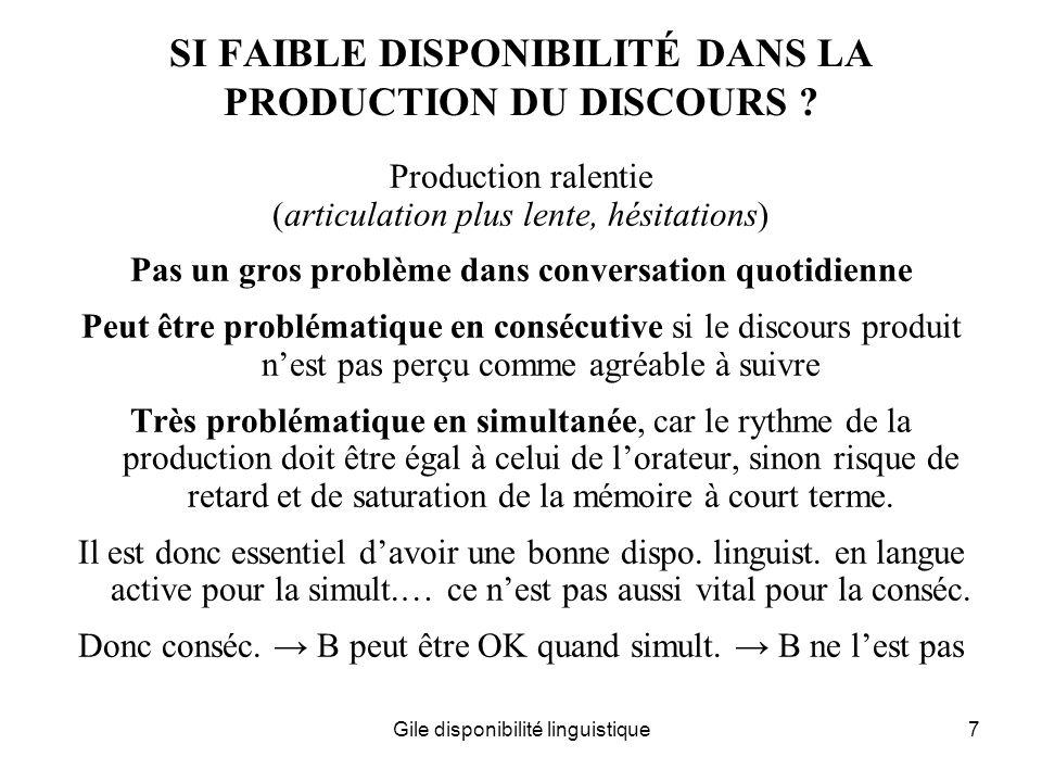 SI FAIBLE DISPONIBILITÉ DANS LA PRODUCTION DU DISCOURS
