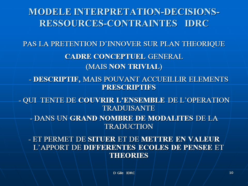 MODELE INTERPRETATION-DECISIONS-RESSOURCES-CONTRAINTES IDRC