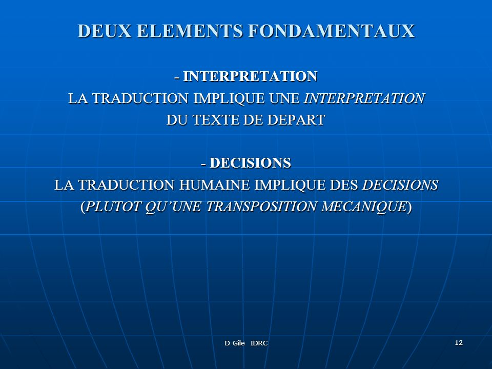 DEUX ELEMENTS FONDAMENTAUX