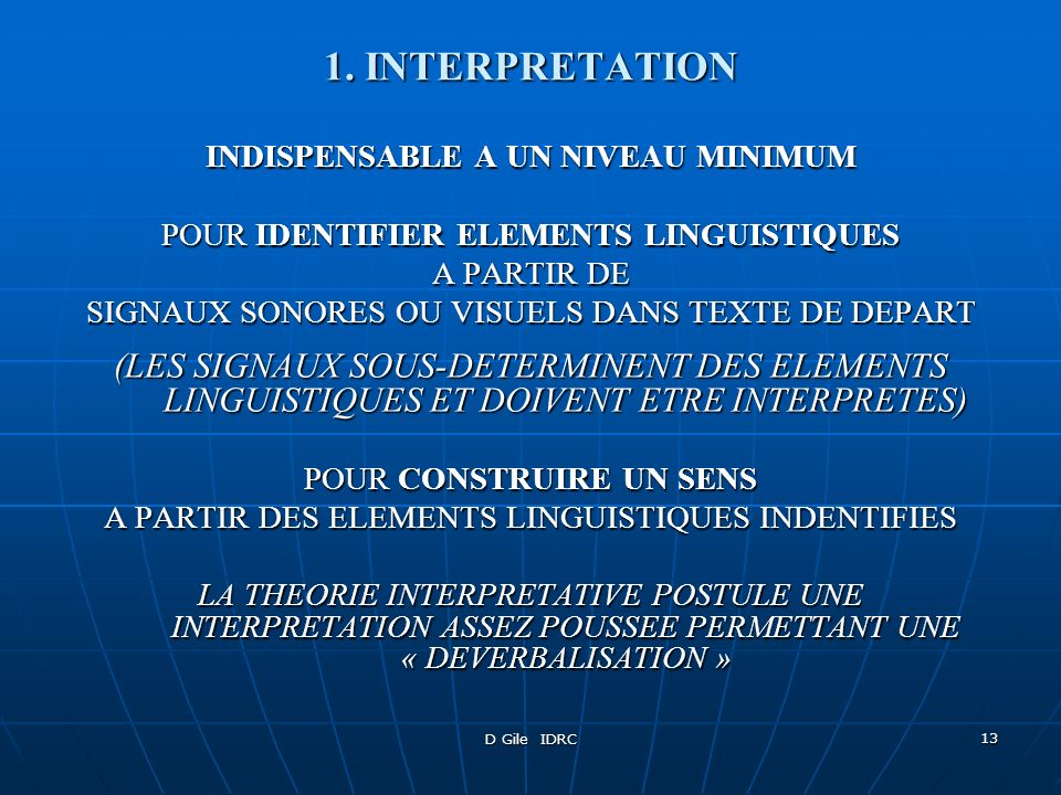 INDISPENSABLE A UN NIVEAU MINIMUM