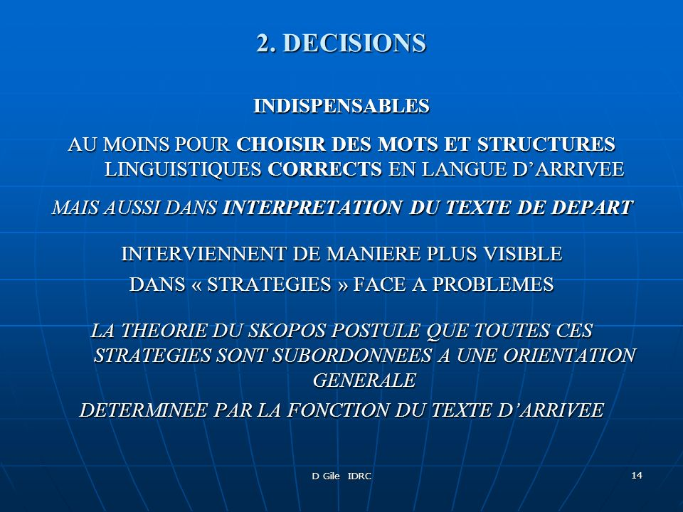 2. DECISIONS INDISPENSABLES