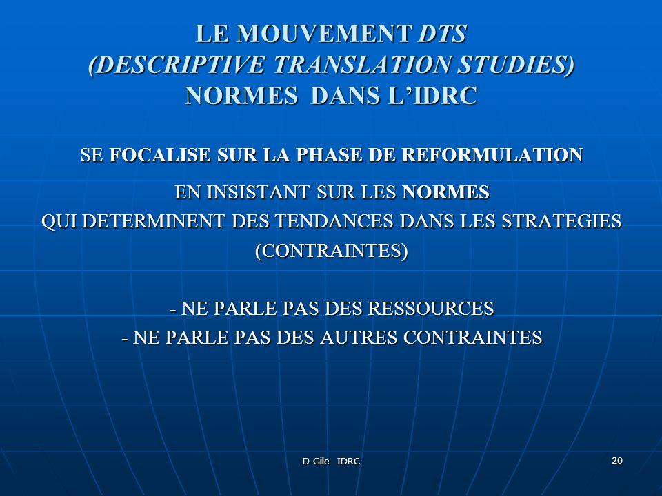 LE MOUVEMENT DTS (DESCRIPTIVE TRANSLATION STUDIES) NORMES DANS L'IDRC