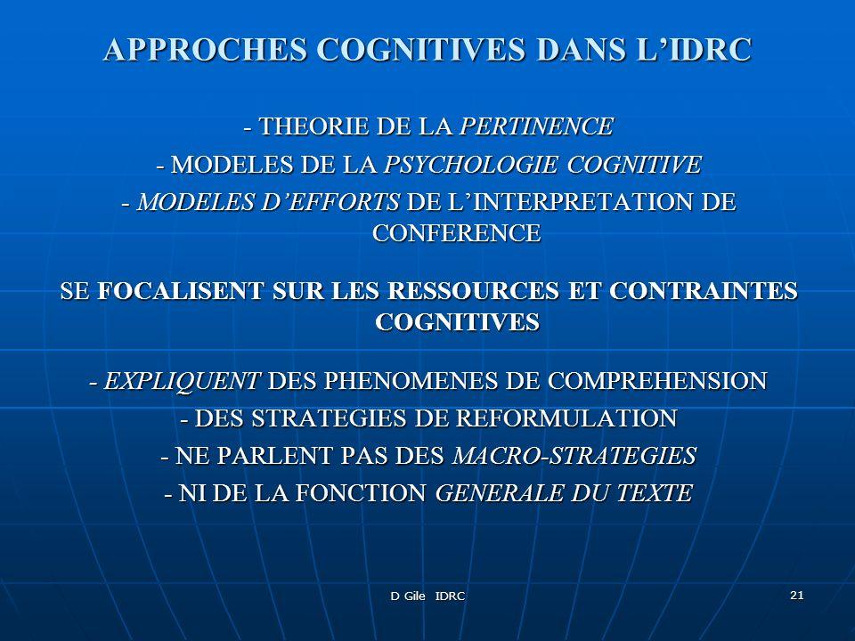 APPROCHES COGNITIVES DANS L'IDRC