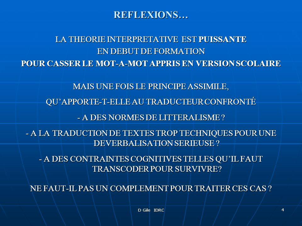 REFLEXIONS… LA THEORIE INTERPRETATIVE EST PUISSANTE
