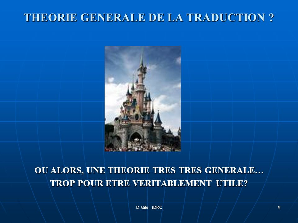 THEORIE GENERALE DE LA TRADUCTION