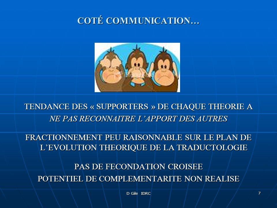 COTÉ COMMUNICATION… TENDANCE DES « SUPPORTERS » DE CHAQUE THEORIE A