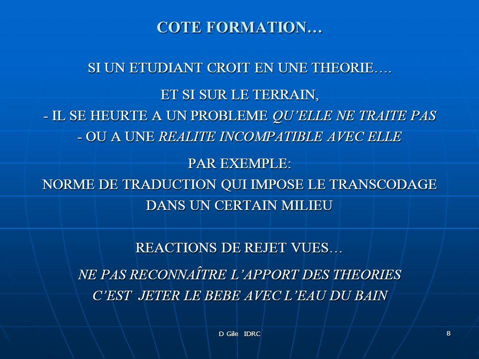 COTE FORMATION… SI UN ETUDIANT CROIT EN UNE THEORIE….