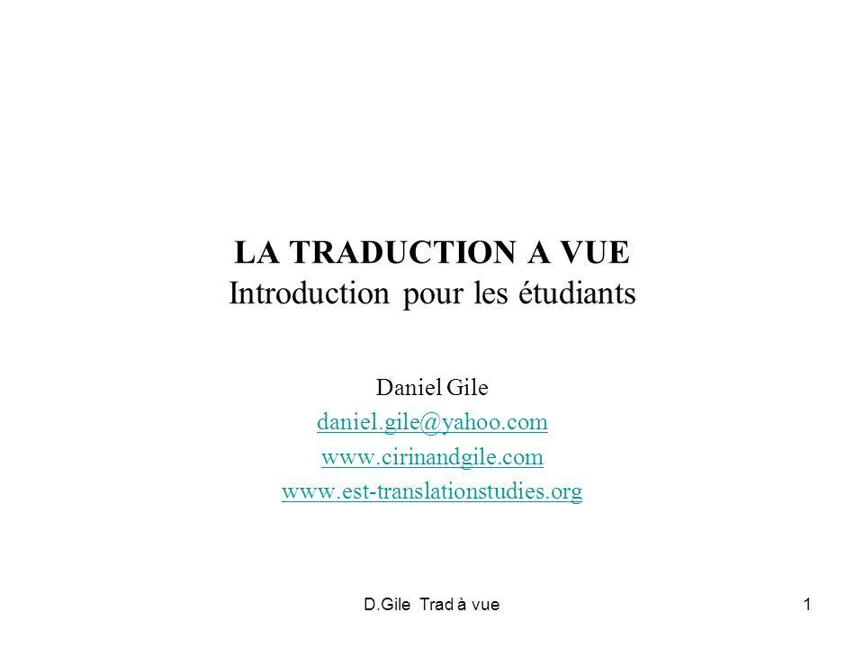 LA TRADUCTION A VUE Introduction pour les étudiants