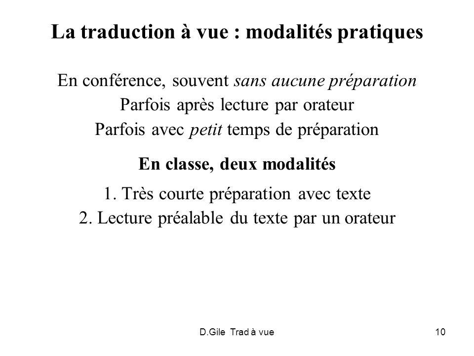 La traduction à vue : modalités pratiques