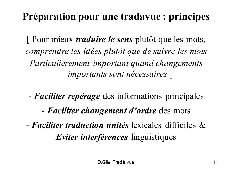 Préparation pour une tradavue : principes