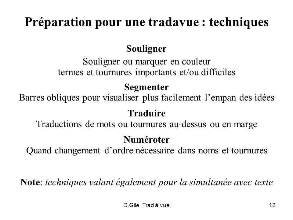 Préparation pour une tradavue : techniques