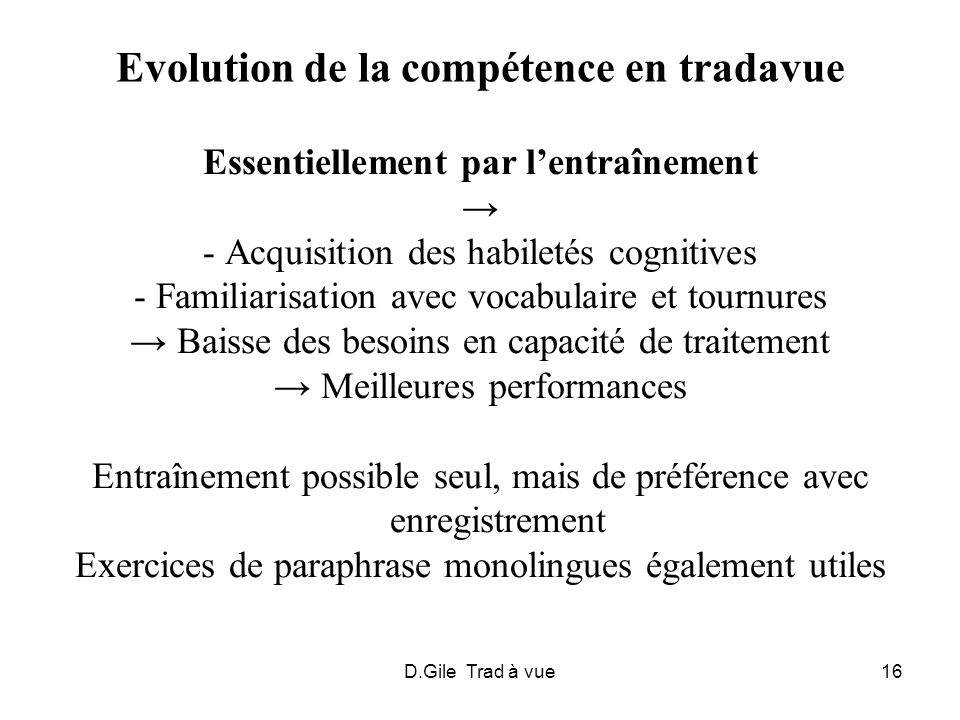 Evolution de la compétence en tradavue