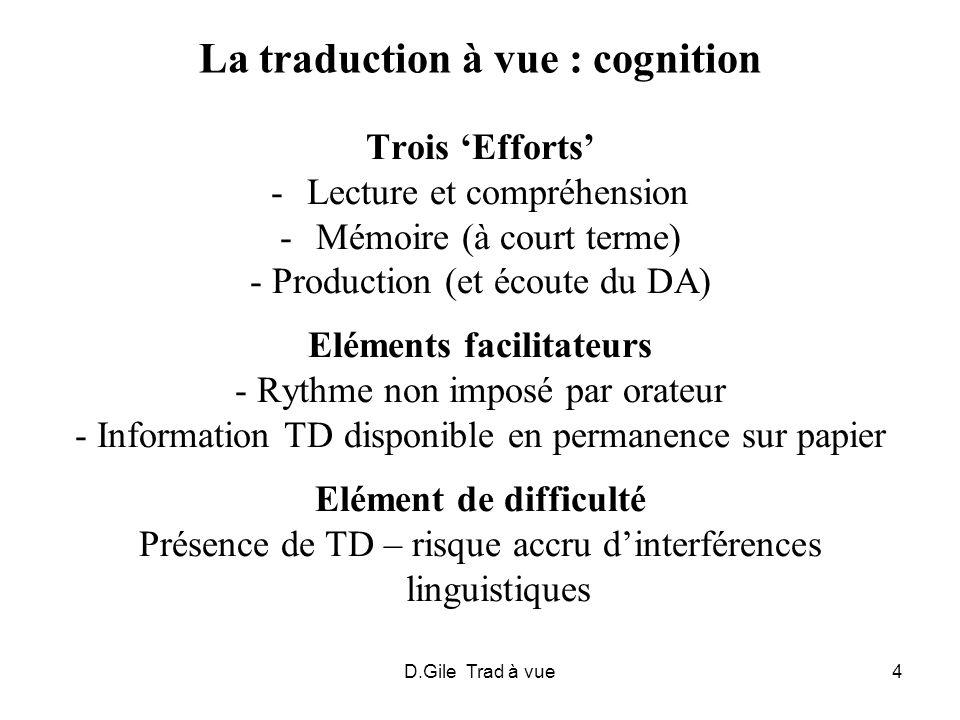 La traduction à vue : cognition