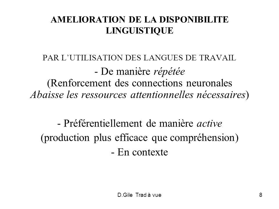 AMELIORATION DE LA DISPONIBILITE LINGUISTIQUE