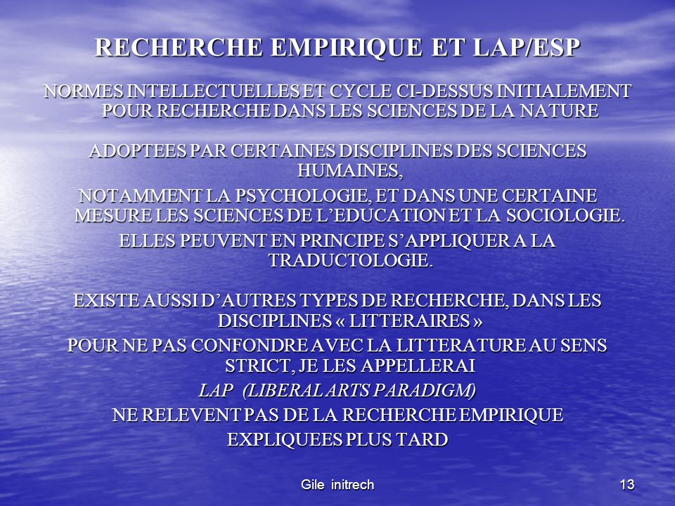 RECHERCHE EMPIRIQUE ET LAP/ESP