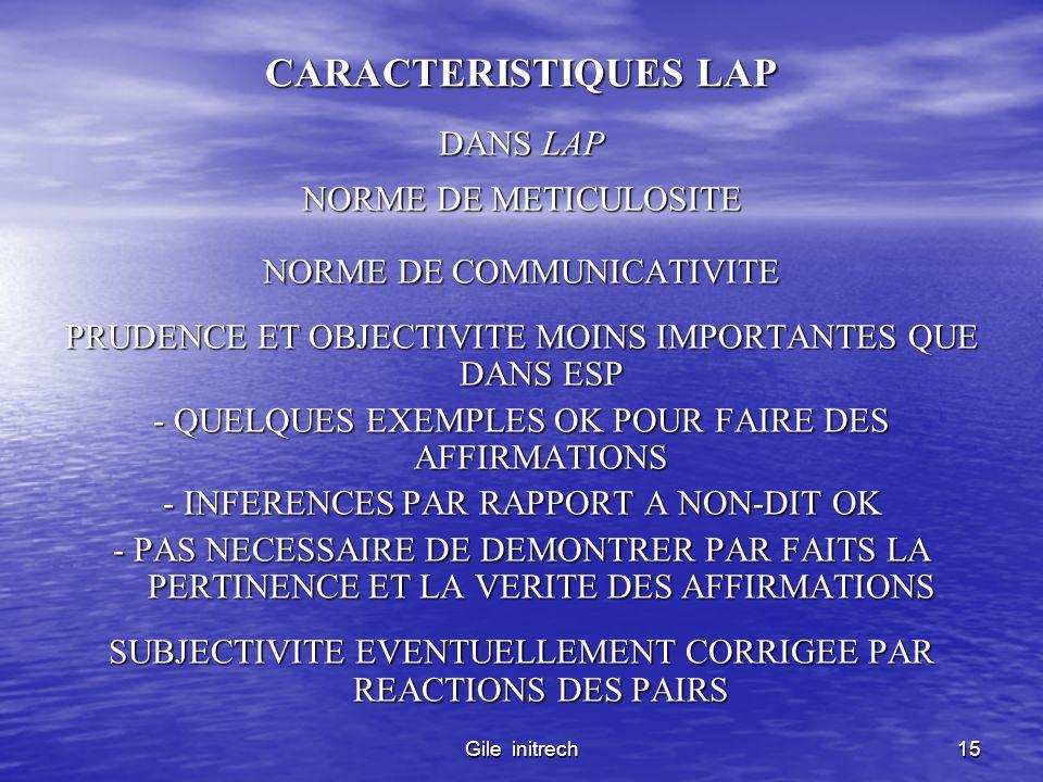CARACTERISTIQUES LAP DANS LAP NORME DE METICULOSITE