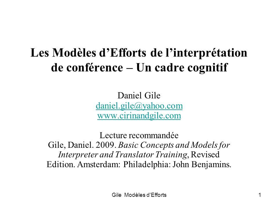 Les Modèles d'Efforts de l'interprétation de conférence – Un cadre cognitif