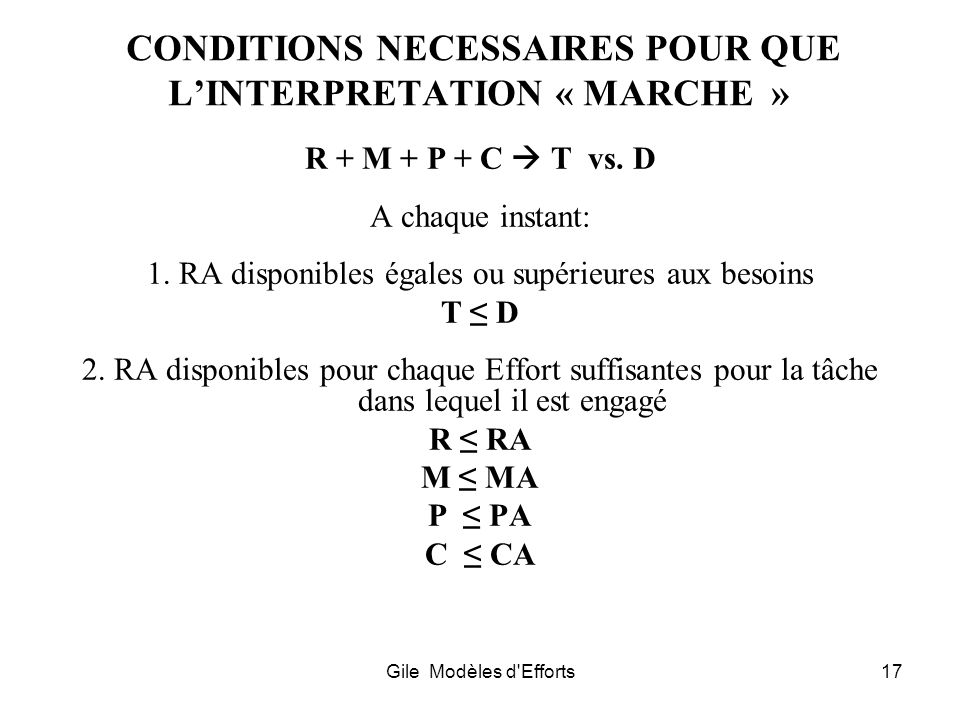 CONDITIONS NECESSAIRES POUR QUE L'INTERPRETATION « MARCHE »