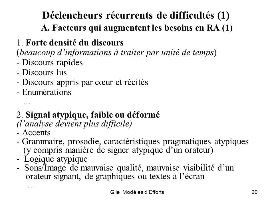 Déclencheurs récurrents de difficultés (1)