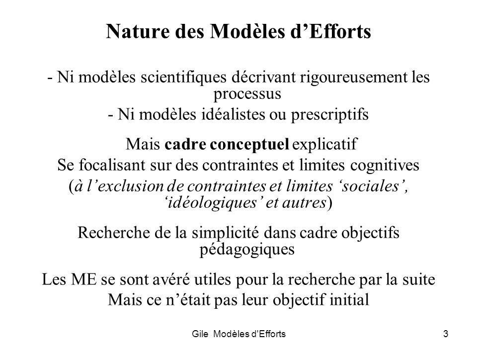Nature des Modèles d'Efforts