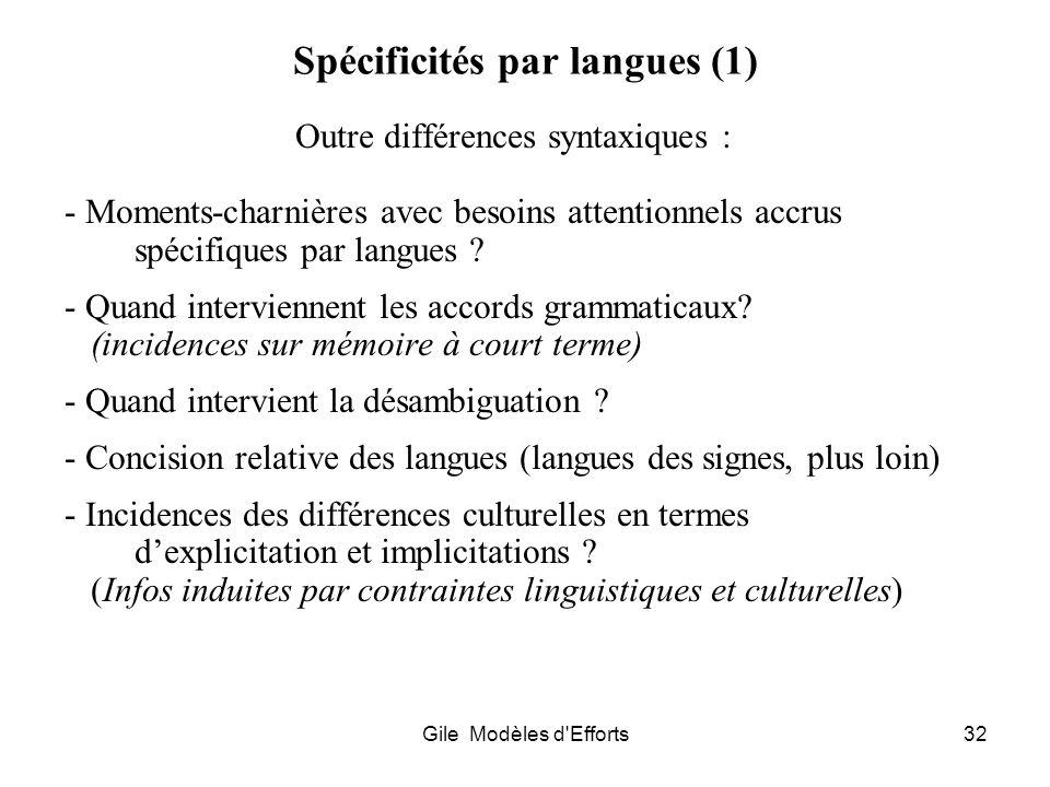 Spécificités par langues (1)