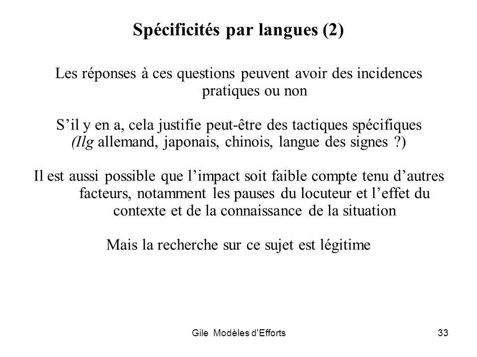 Spécificités par langues (2)