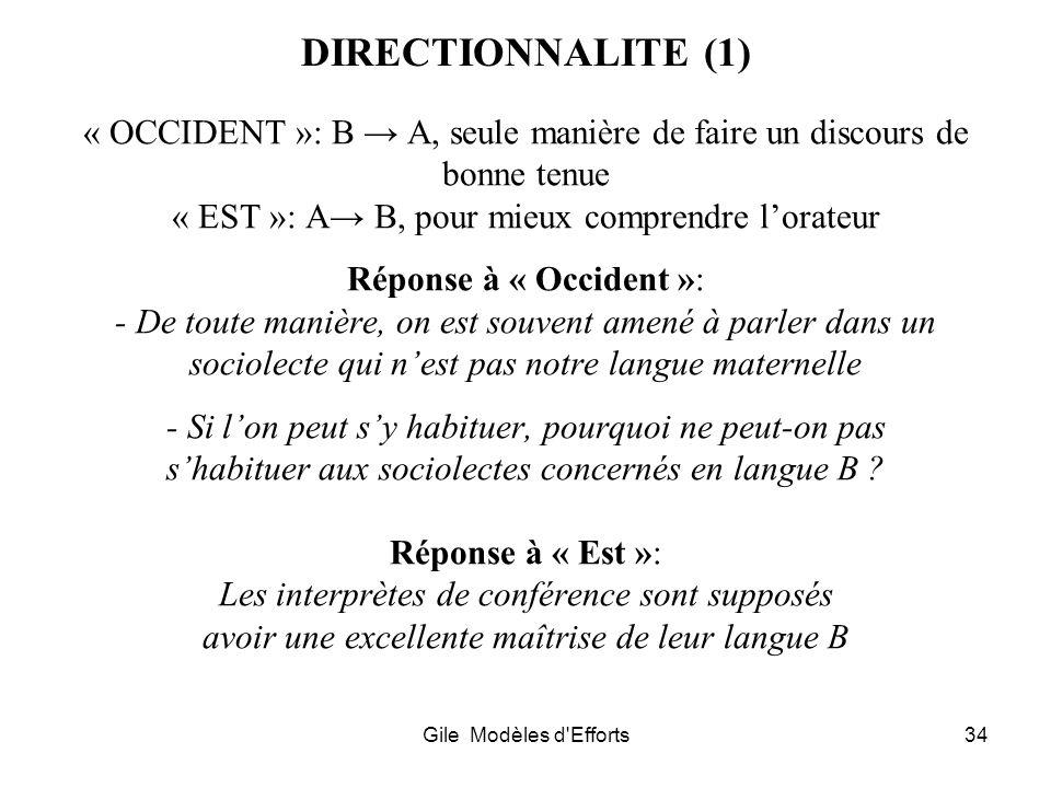 DIRECTIONNALITE (1) « OCCIDENT »: B → A, seule manière de faire un discours de bonne tenue. « EST »: A→ B, pour mieux comprendre l'orateur.