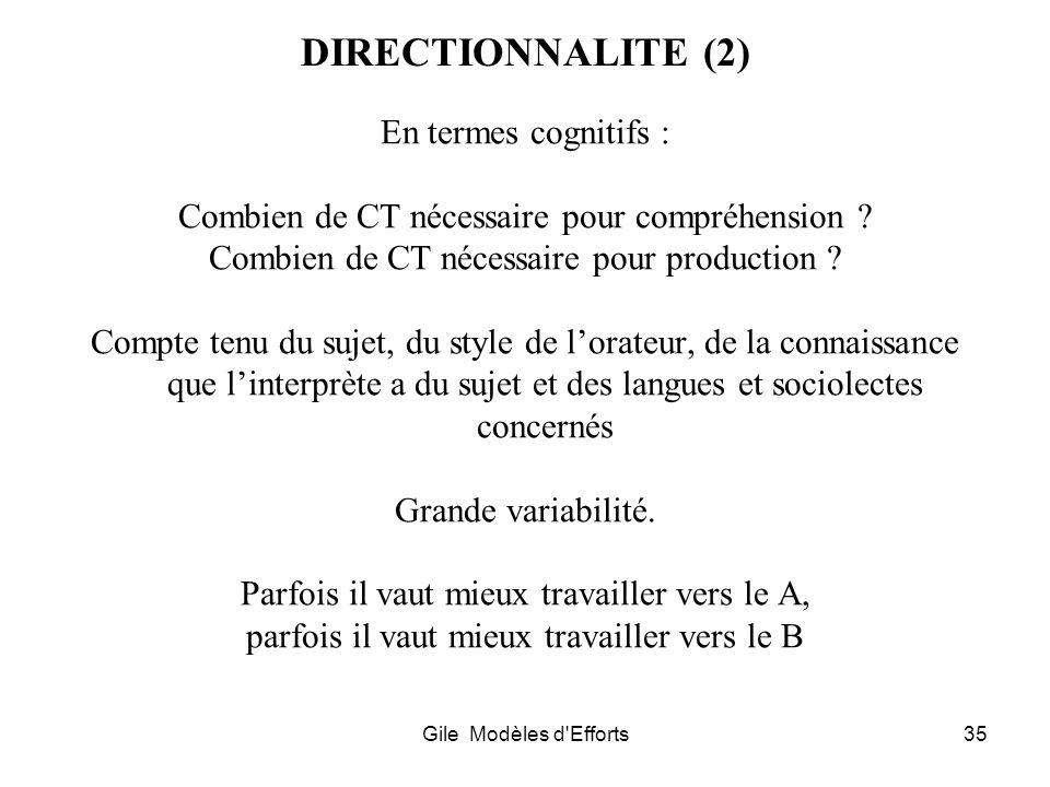 DIRECTIONNALITE (2) En termes cognitifs :