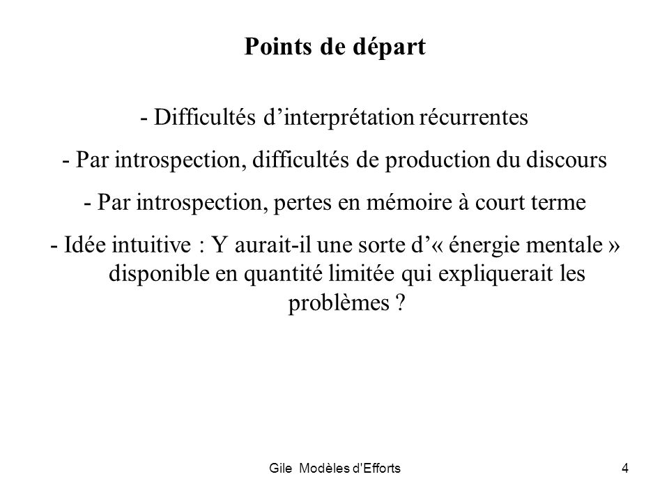 Points de départ - Difficultés d'interprétation récurrentes