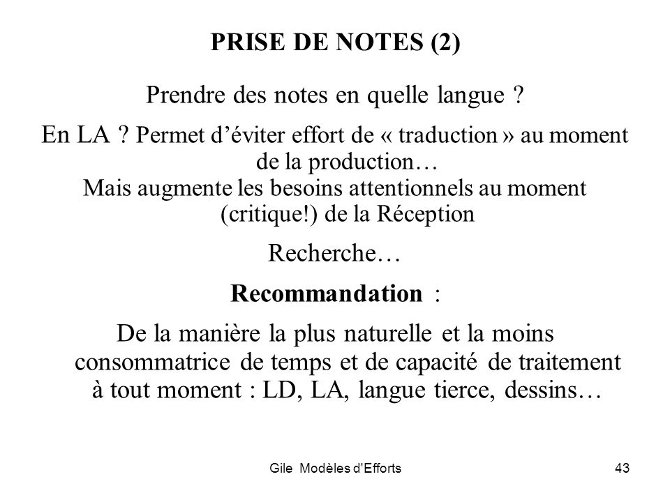 Prendre des notes en quelle langue