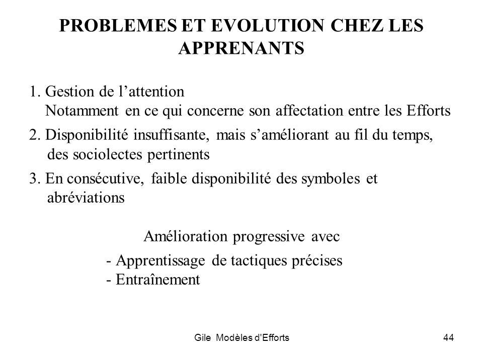PROBLEMES ET EVOLUTION CHEZ LES APPRENANTS