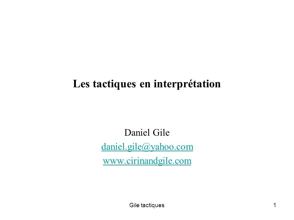 Les tactiques en interprétation