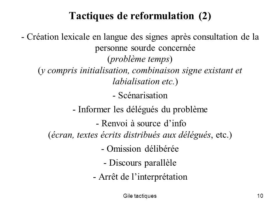Tactiques de reformulation (2)