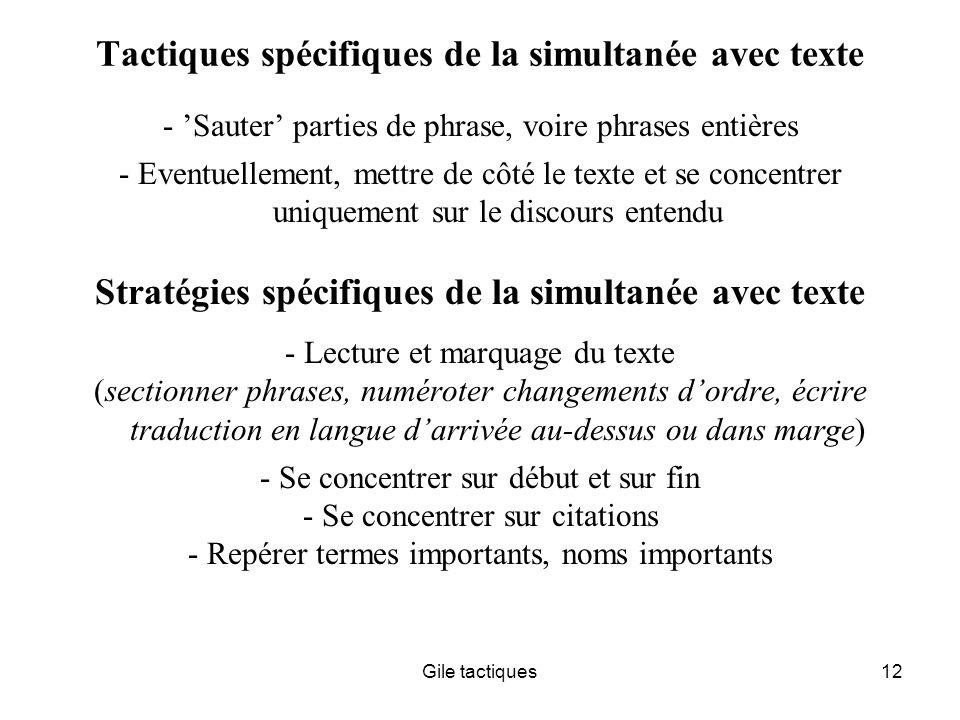 Tactiques spécifiques de la simultanée avec texte