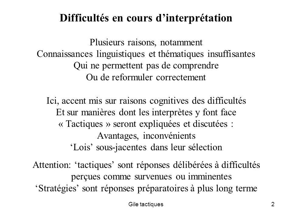 Difficultés en cours d'interprétation