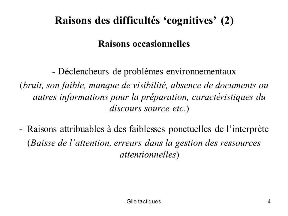 Raisons des difficultés 'cognitives' (2)