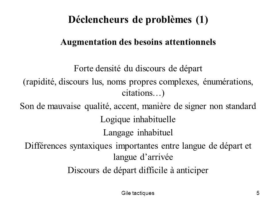 Déclencheurs de problèmes (1)
