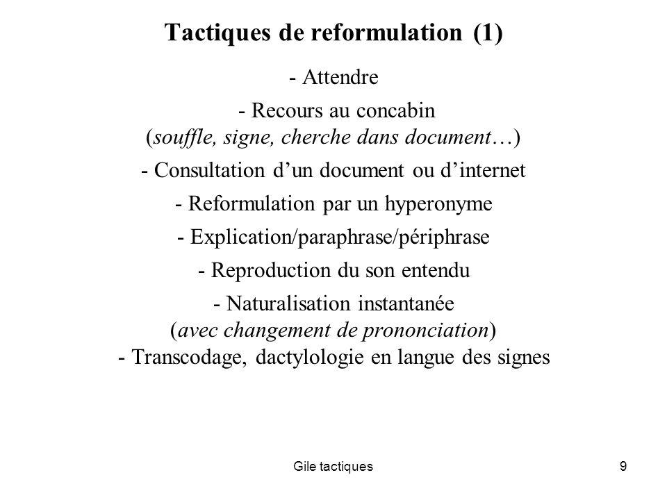 Tactiques de reformulation (1)
