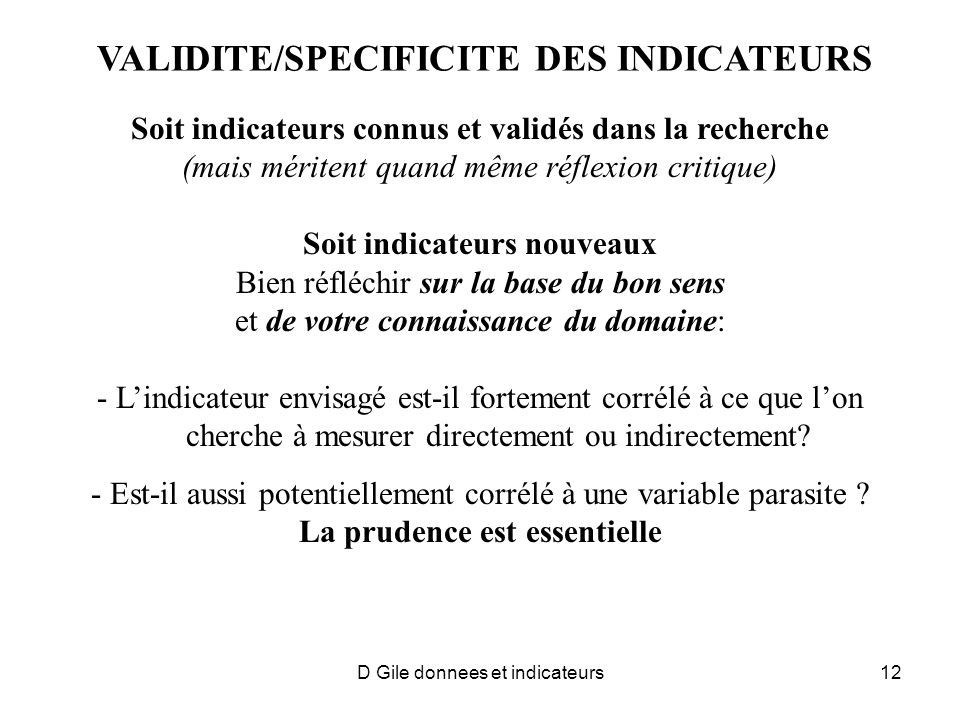 VALIDITE/SPECIFICITE DES INDICATEURS
