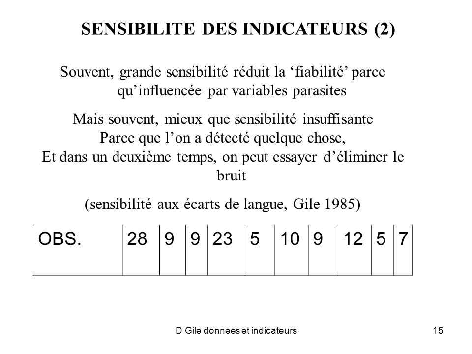 SENSIBILITE DES INDICATEURS (2)