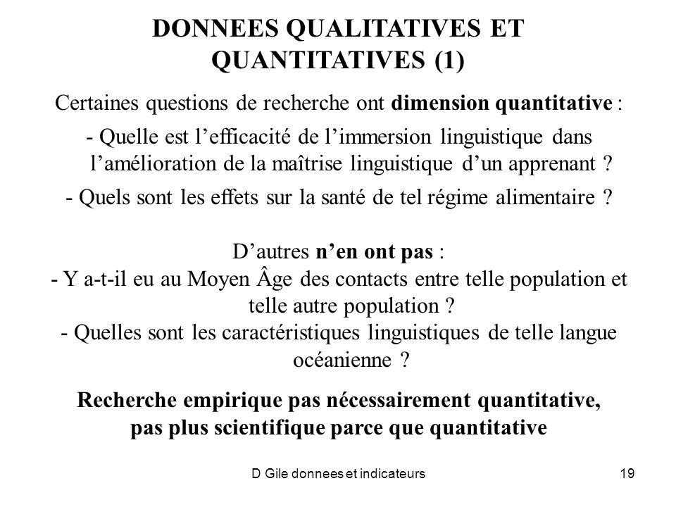 DONNEES QUALITATIVES ET QUANTITATIVES (1)