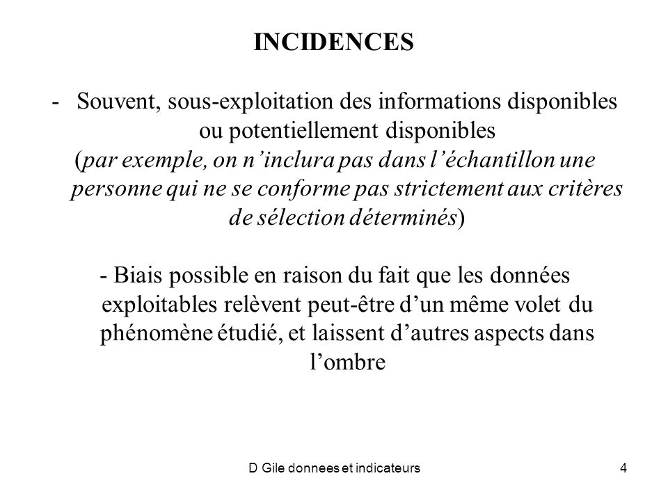 D Gile donnees et indicateurs