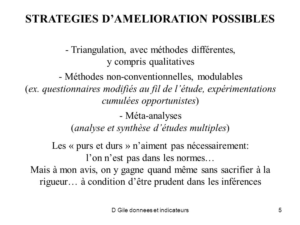 STRATEGIES D'AMELIORATION POSSIBLES