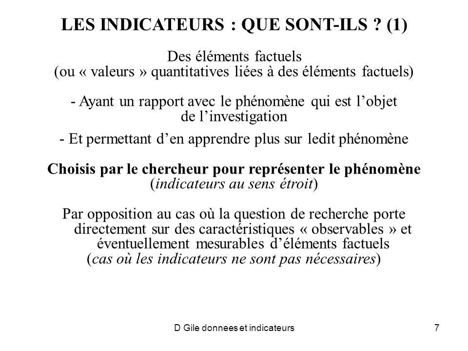 LES INDICATEURS : QUE SONT-ILS (1)