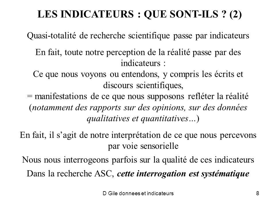 LES INDICATEURS : QUE SONT-ILS (2)