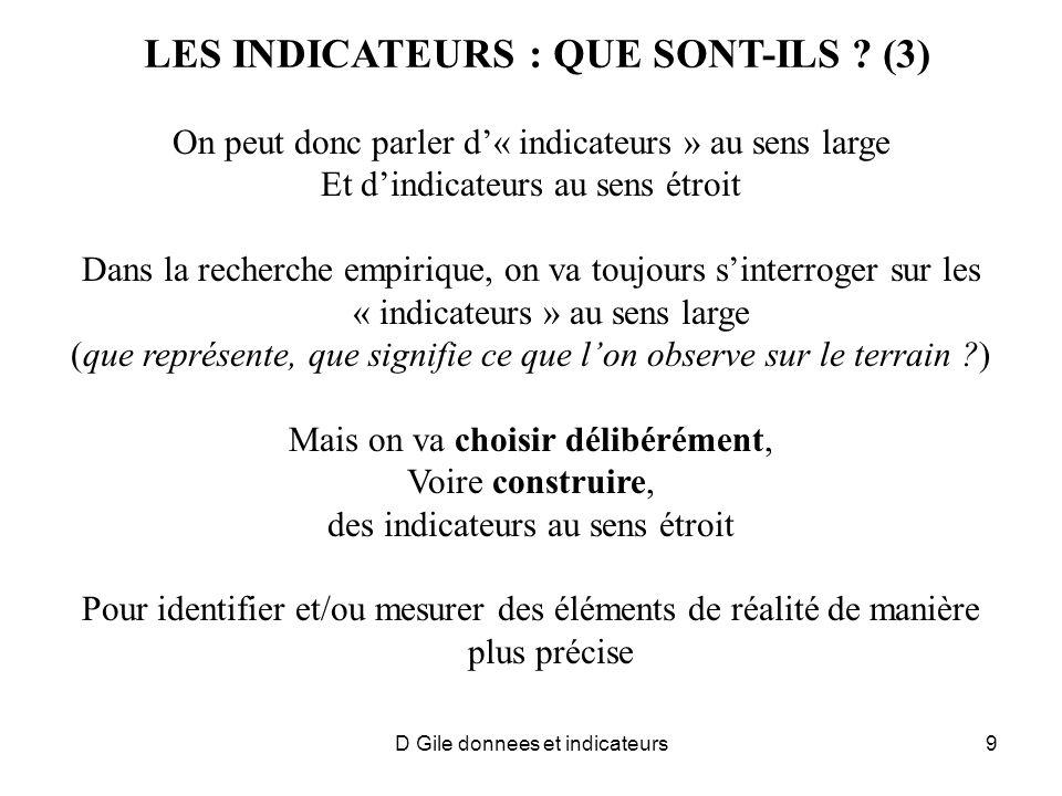 LES INDICATEURS : QUE SONT-ILS (3)