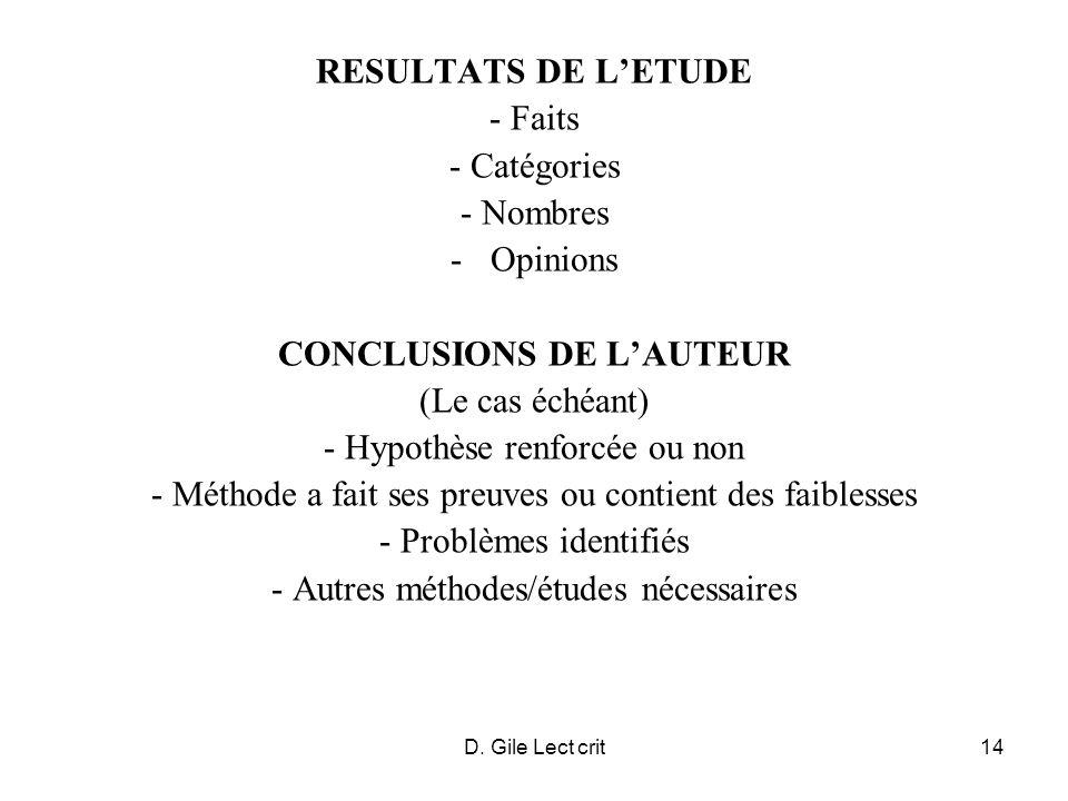 CONCLUSIONS DE L'AUTEUR (Le cas échéant) - Hypothèse renforcée ou non