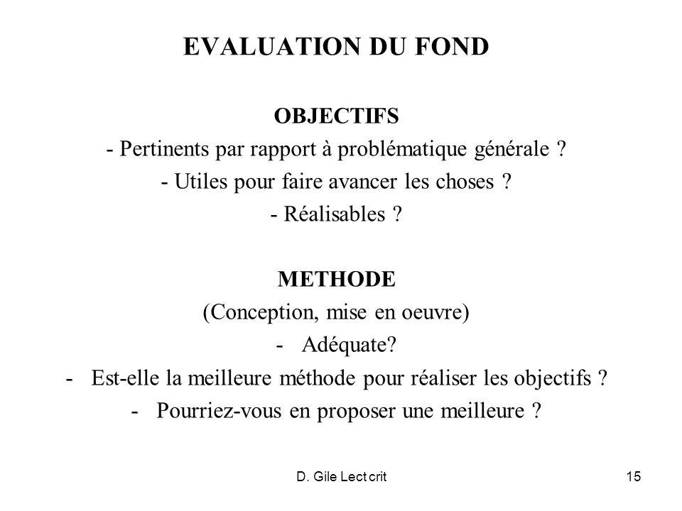 EVALUATION DU FOND OBJECTIFS